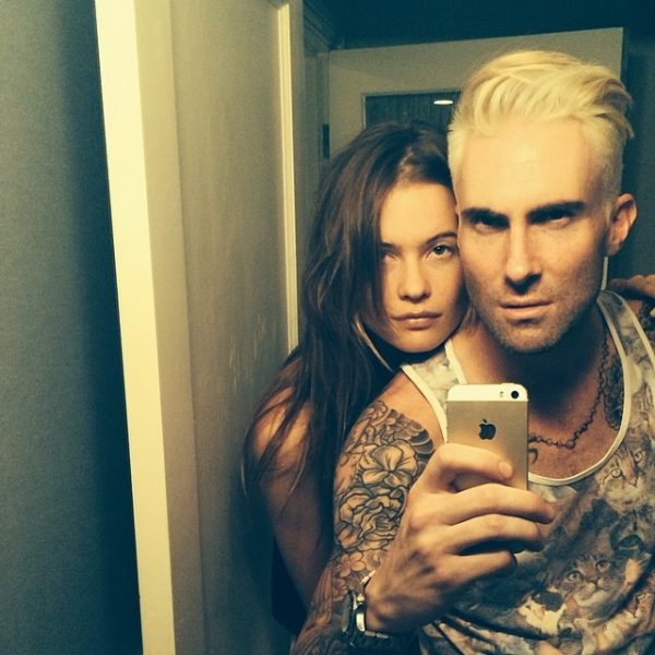 Behati Prinsloo and her now husband Adam Levine earlier this year. Image: Instagram
