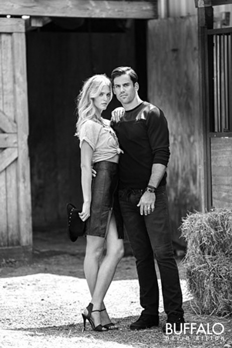 buffalo david bitton jeans 2014 fall winter campaign1 Erin Heatherton Poses with Football Player for Buffalo David Bitton Fall Ads
