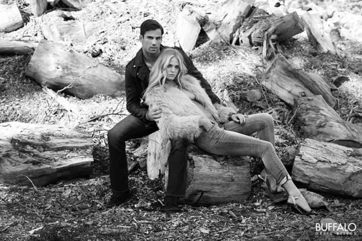 Erin Heatherton Poses with Football Player for Buffalo David Bitton Fall Ads