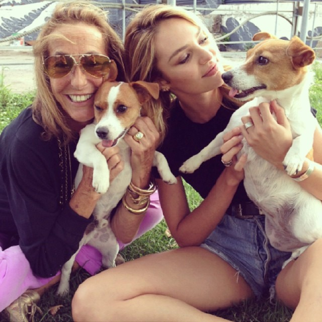 Candice Swanepoel and stylist Carlyne Cerf de Dudzeele with their dogs