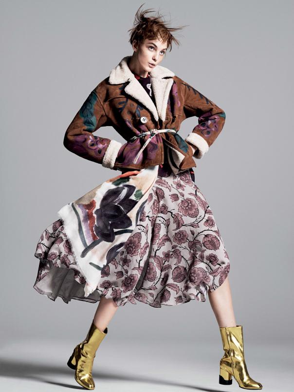caroline001 Caroline Trentini Rocks Colorful Fall Fashions for Vogue US by David Sims