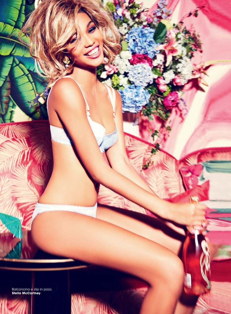 chanel iman blonde photos10 Chanel Iman Goes Blonde for Ellen Von Unwerth in Glamour Italia Shoot