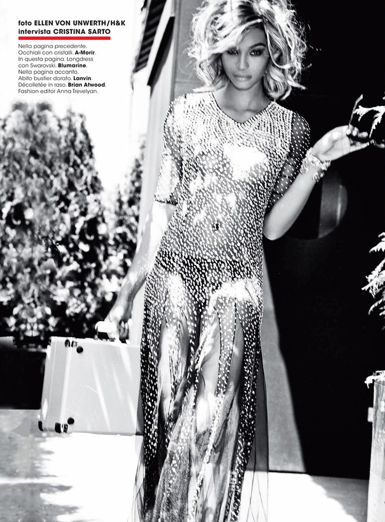 chanel iman blonde photos4 Chanel Iman Goes Blonde for Ellen Von Unwerth in Glamour Italia Shoot
