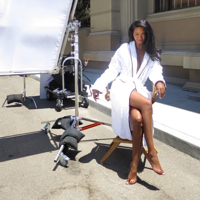 Chanel Iman on set