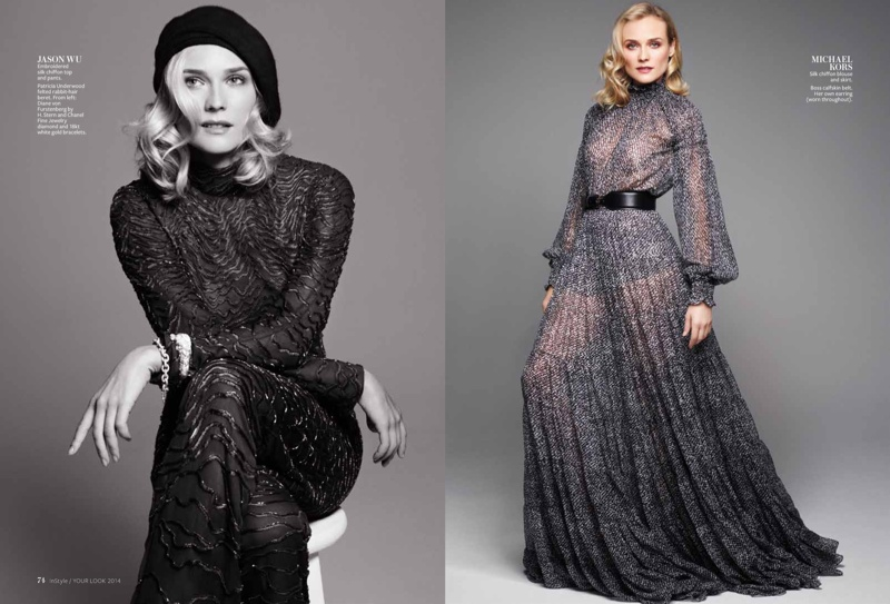 diane kruger pictures 2014 3 Diane Kruger Wears Ladylike Fashions for InStyle Feature by Horst Diekgerdes