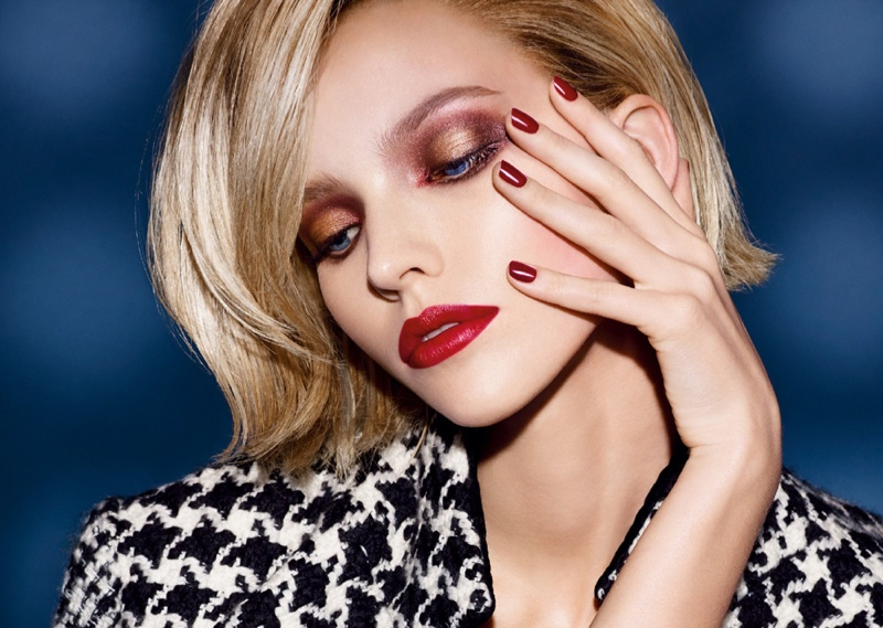 dior cosmetics fall 2014 makeup1 Sasha Luss is Red Hot for Dior Cosmetics' Fall 2014 Campaign