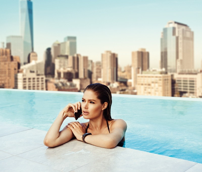 Doutzen Kroes Poses in Pool for Samsung S5 Smartphone Campaign
