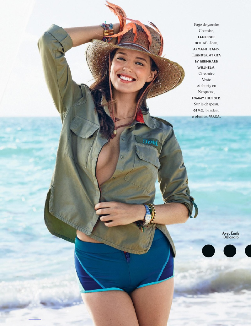 emily didonato beach shoot5 Splash!: Emily DiDonato is Beach Chic for Cover Shoot of Elle France