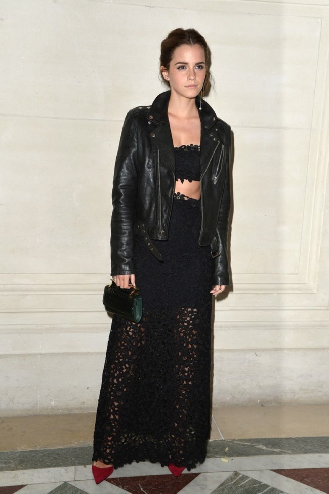 emma stone valentino jacket look1 Emma Watson in Head to Toe Valentino at Couture Fashion Week