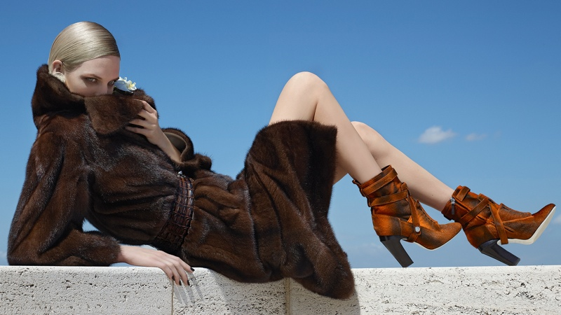 fendi 2014 fall winter campaign12 Nadja Bender, Ashleigh Good Pose in Rome for Fendis Fall 2014 Campaign