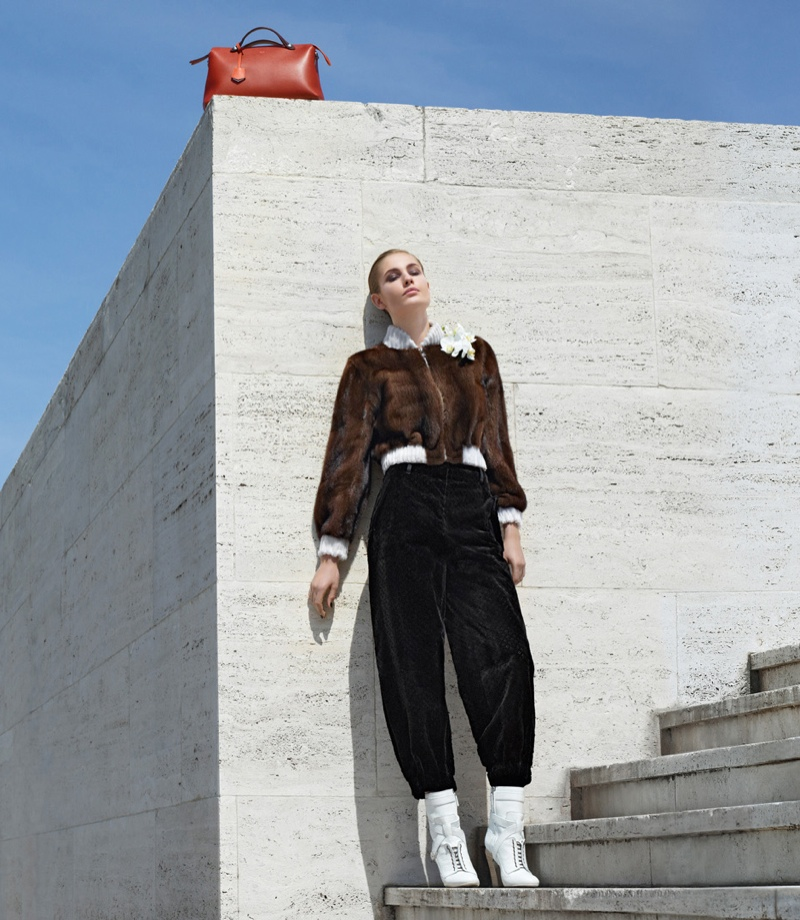 fendi 2014 fall winter campaign13 Nadja Bender, Ashleigh Good Pose in Rome for Fendis Fall 2014 Campaign