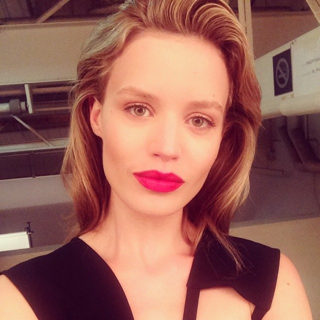 Georgia May Jagger shows off a red lip