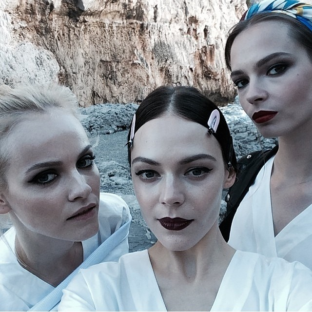 Ginta Lapina, Kinga Rajzak and Mina Cvetkovic on set of Dolce & Gabbana