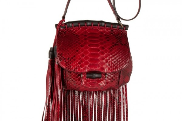 Gucci Fringed python shoulder bag available at Net-a-Porter for $3,100.