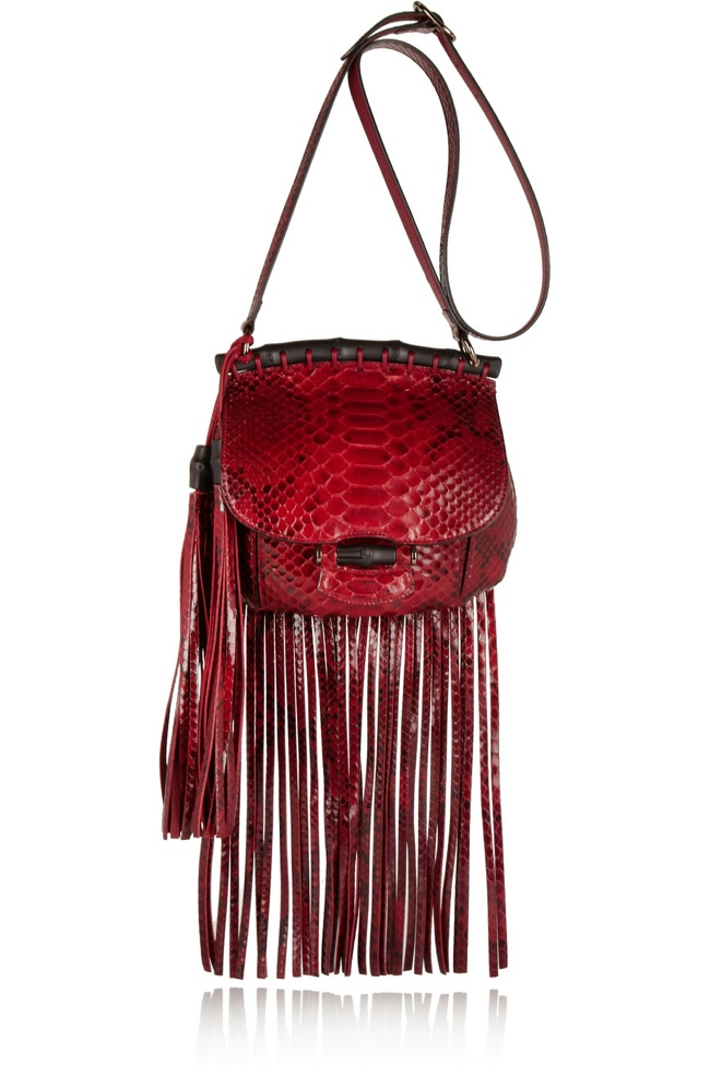 gucci fringe python shoulder bag The Fall Trend Designers Love: Fringe!