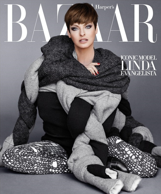 Linda Evangelista stars on Harper's Bazaar September 2014 cover