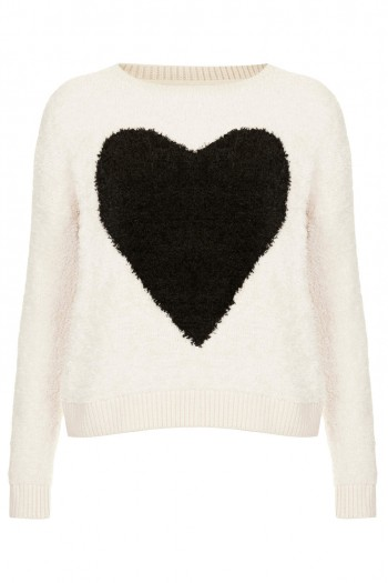 Daily Find: Share the Love with Topshop's Fluffy Heart Sweater