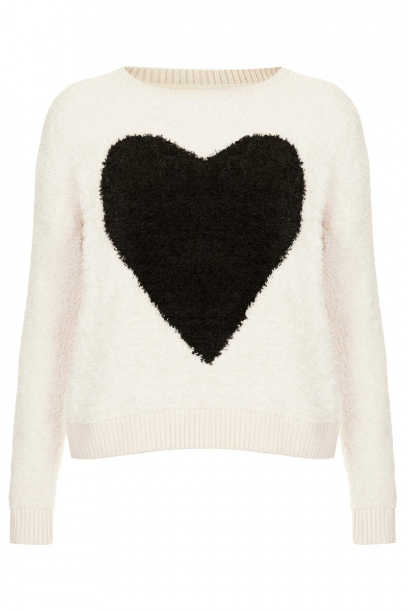 BLACK HEART: Fluffy Heart Sweater available at Topshop