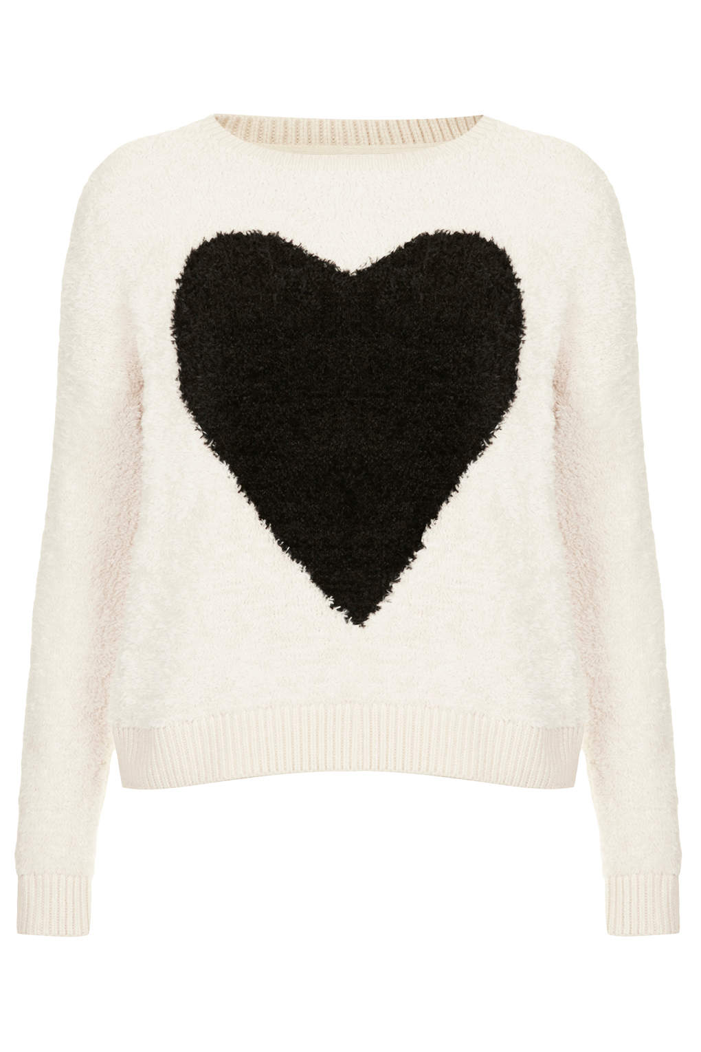 BLACK HEART: Fluffy Heart Jumper available at Topshop