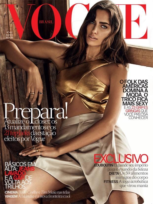 Irina Shayk on Vogue Brazil August 2014 Cover in Shorts
