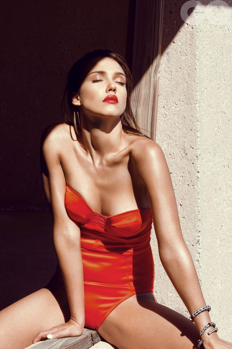 9d1d9e30aaabf Jessica Alba Smolders in Swimsuits for GQ UK Cover Shoot