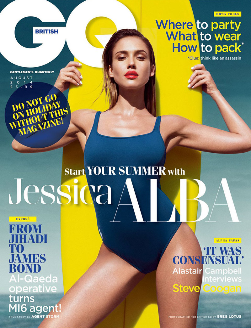 jessica alba gq uk 2014 cover Jessica Alba Smolders in Swimsuits for GQ UK Cover Shoot