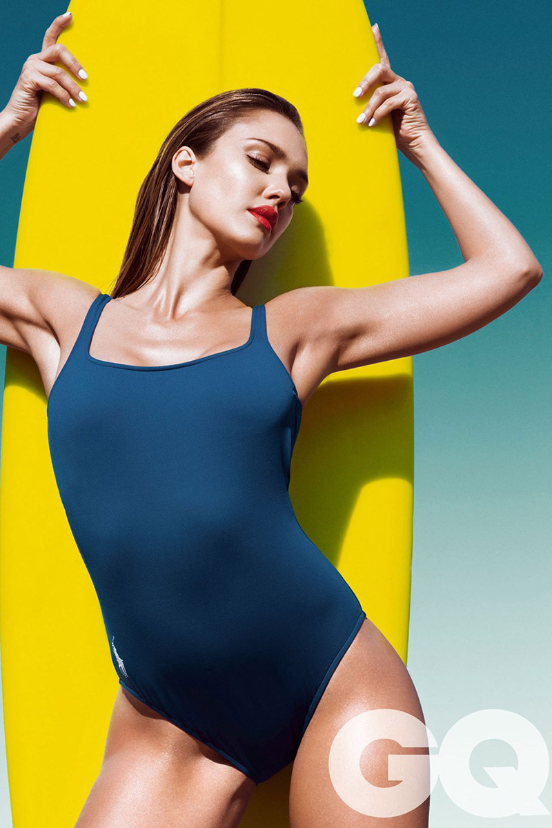 jessica alba gq uk 2014 Jessica Alba Smolders in Swimsuits for GQ UK Cover Shoot