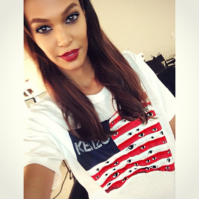 Joan Smalls rocked a patriotic Kenzo t-shirt