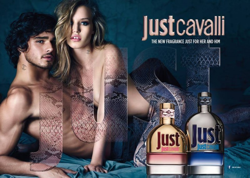 "Image: Just Cavalli ""Just"" fragrance ad starring Georgia May Jagger and Marlon Teixeira"