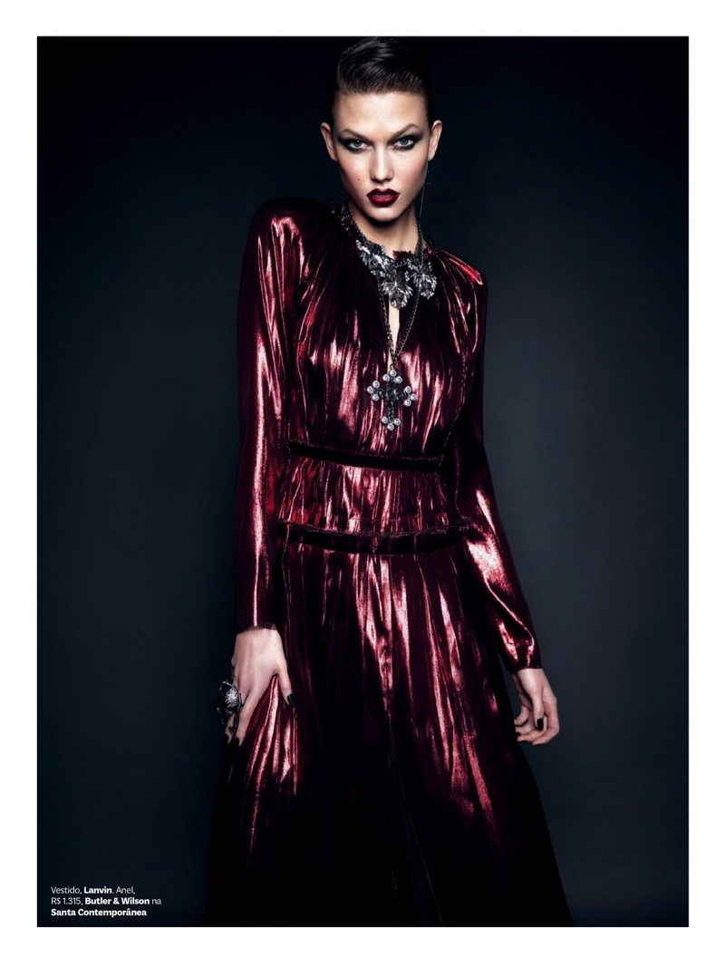 b4b6699b245c Karlie Kloss Transforms with Gothic Glam Looks for New Vogue Brazil ...
