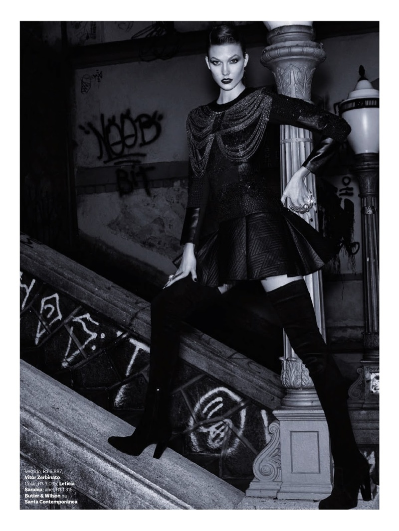 karlie kloss henrique gendre gothic5 Karlie Kloss is Gothic Glam for Vogue Brazil Shoot by Henrique Gendre