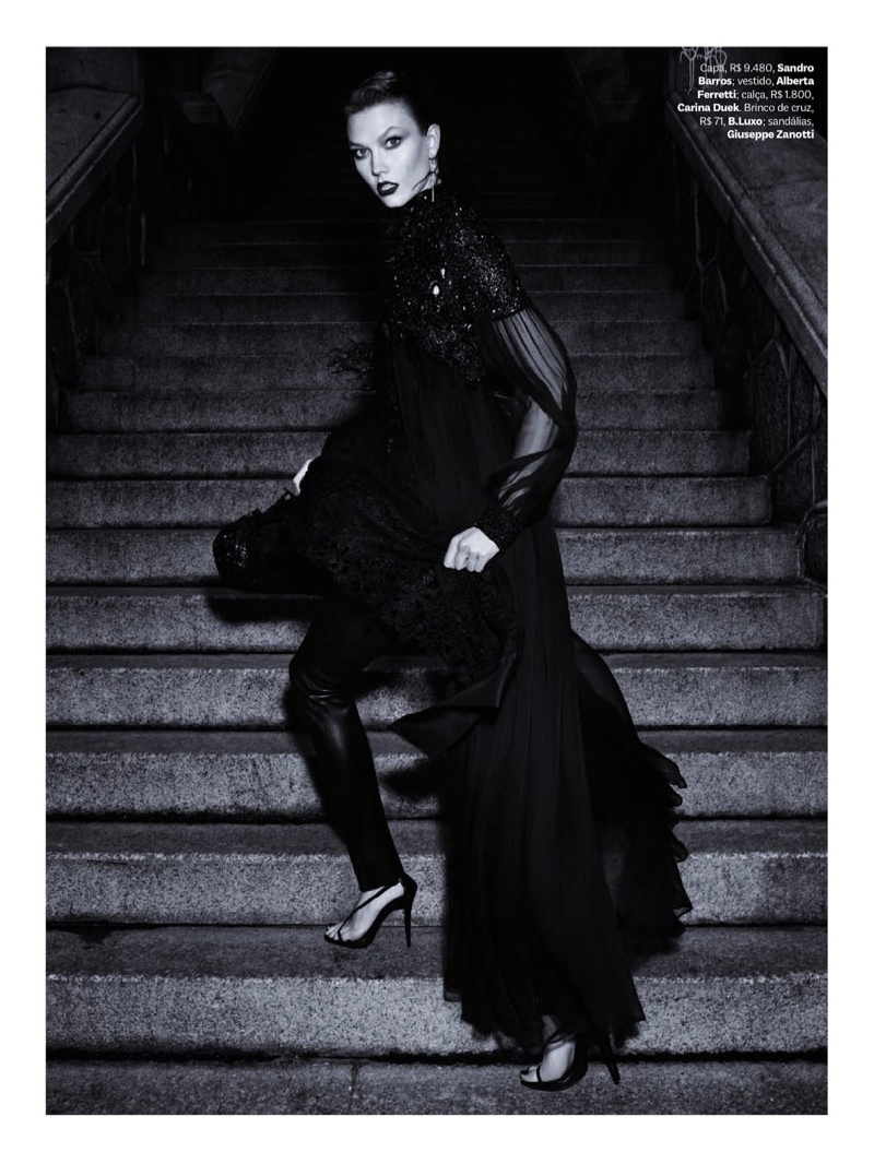 karlie kloss henrique gendre gothic7 Karlie Kloss is Gothic Glam for Vogue Brazil Shoot by Henrique Gendre