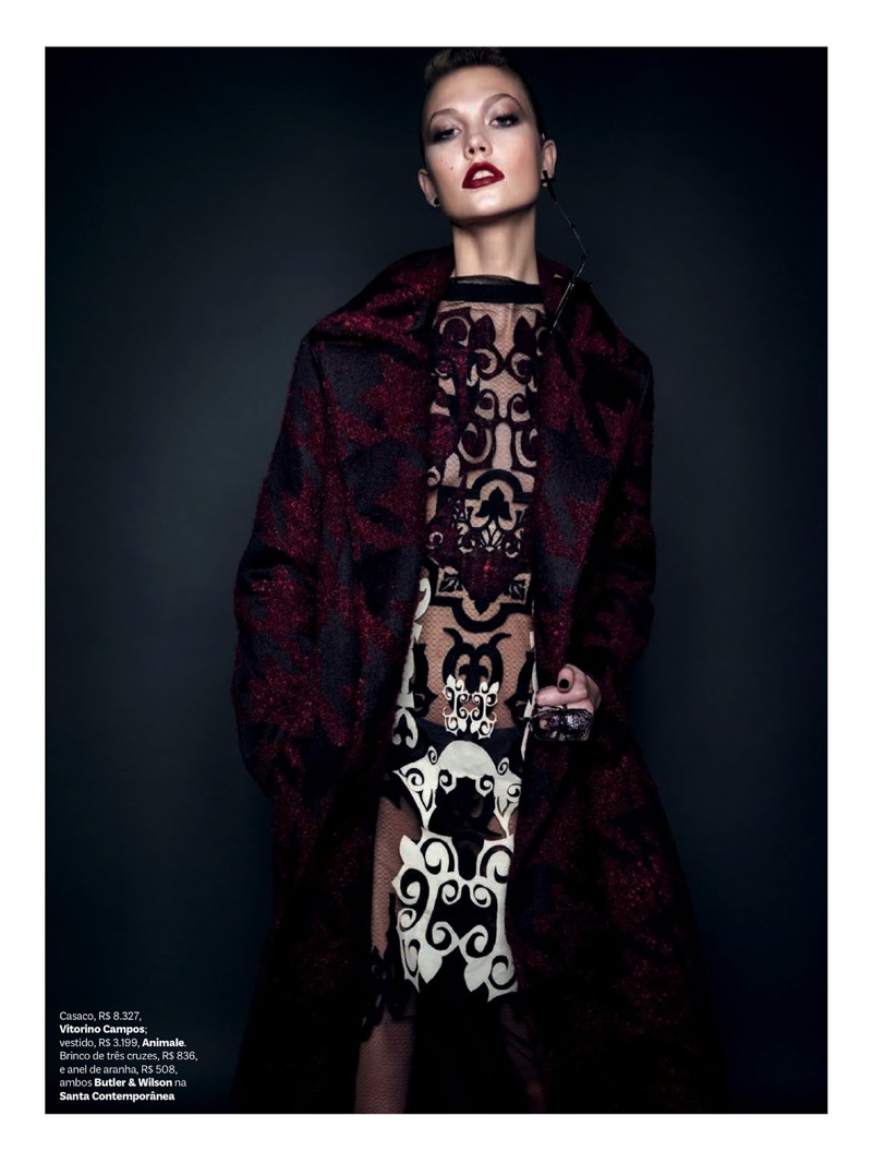karlie kloss henrique gendre gothic8 Karlie Kloss is Gothic Glam for Vogue Brazil Shoot by Henrique Gendre
