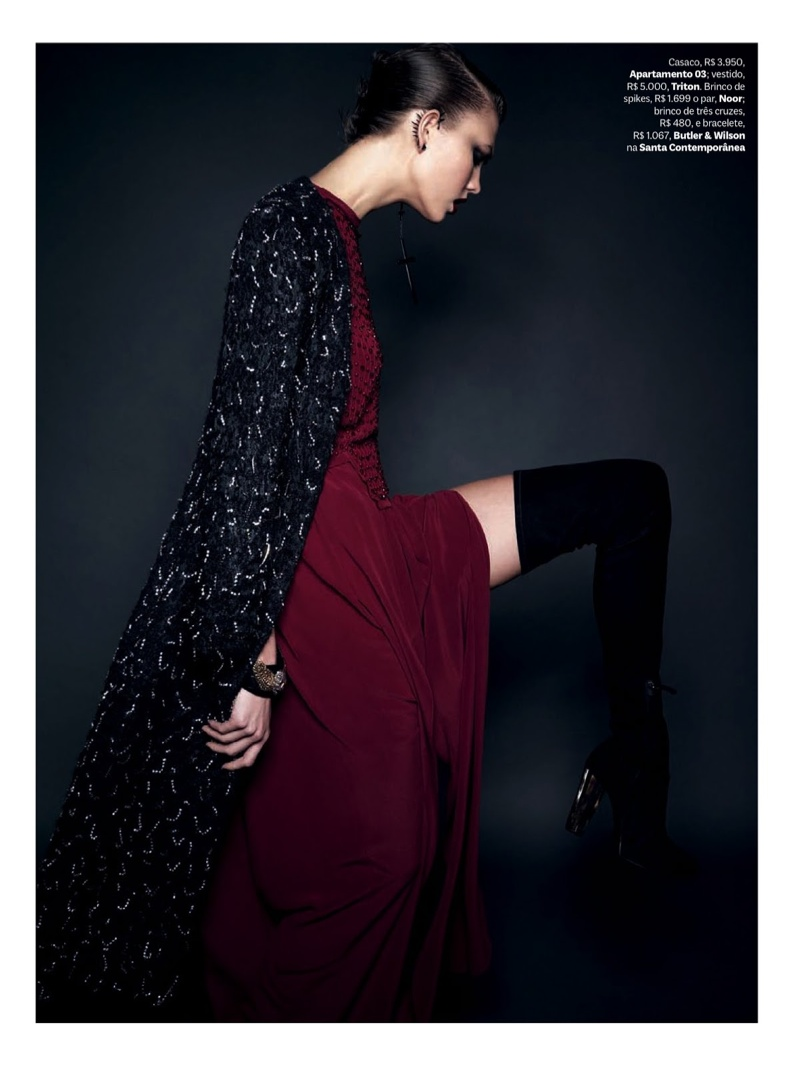 karlie kloss henrique gendre gothic9 Karlie Kloss is Gothic Glam for Vogue Brazil Shoot by Henrique Gendre