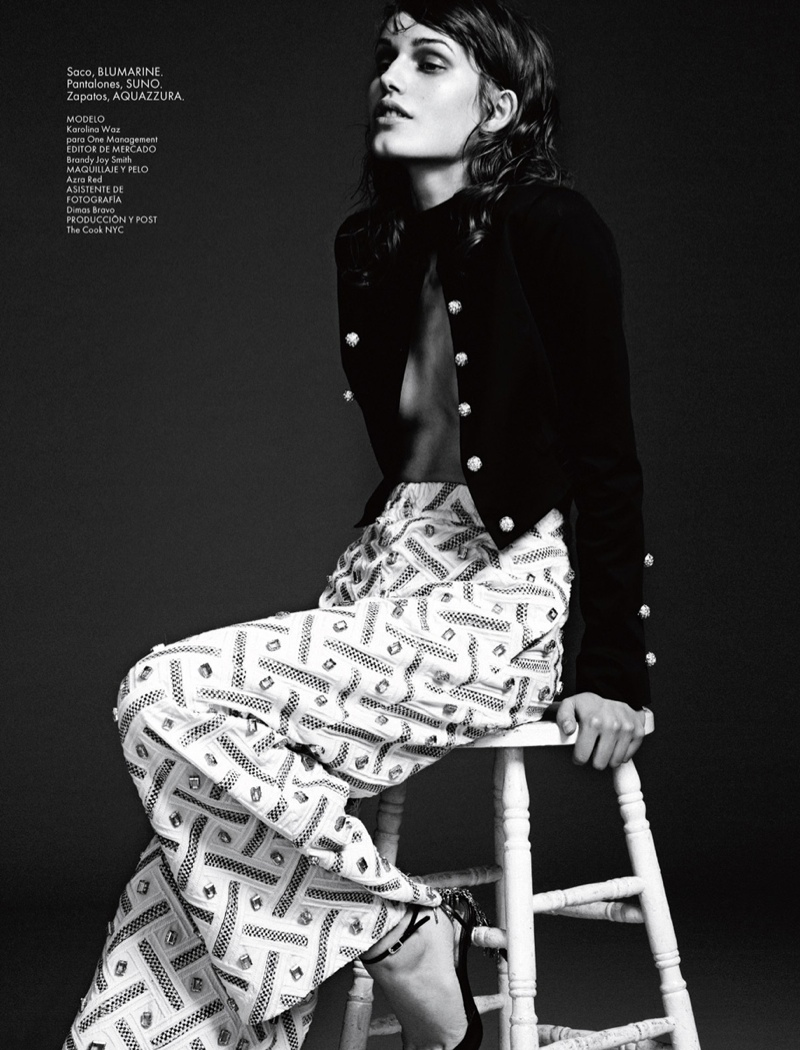 karolina waz model8 Karolina Waz Wears Embellished Style in Elle Mexico by Matallana