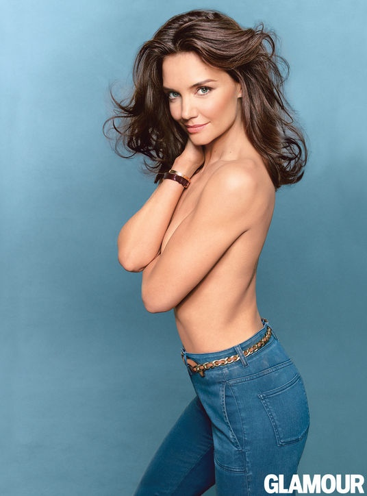 Katie Holmes Goes Topless, Wears Denim in Glamour Cover Shoot