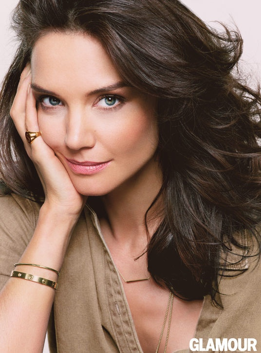 katie holmes glamour photos3 Katie Holmes Goes Topless, Wears Denim in Glamour Cover Shoot