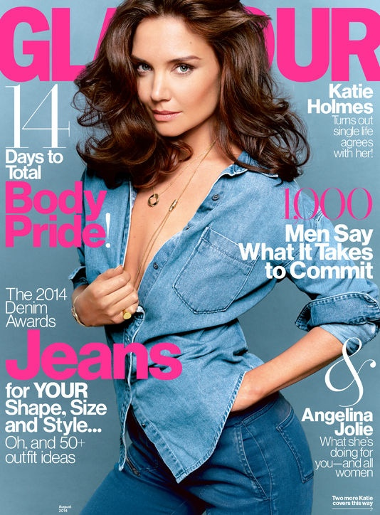 katie holmes glamour photos5 Katie Holmes Goes Topless, Wears Denim in Glamour Cover Shoot