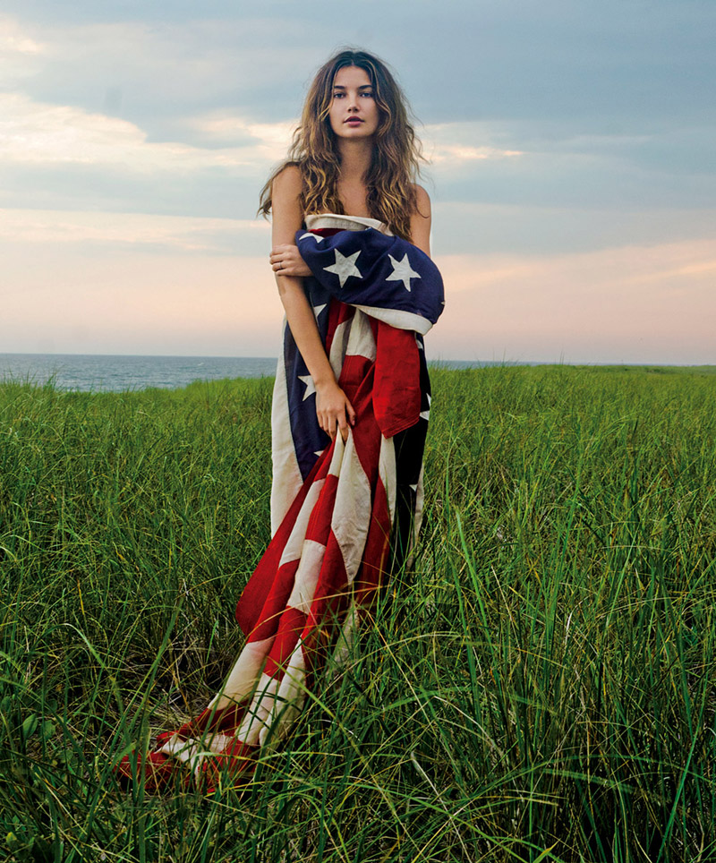 lily aldridge american flag 7 Images of Models with American Flags in Honor of July 4th