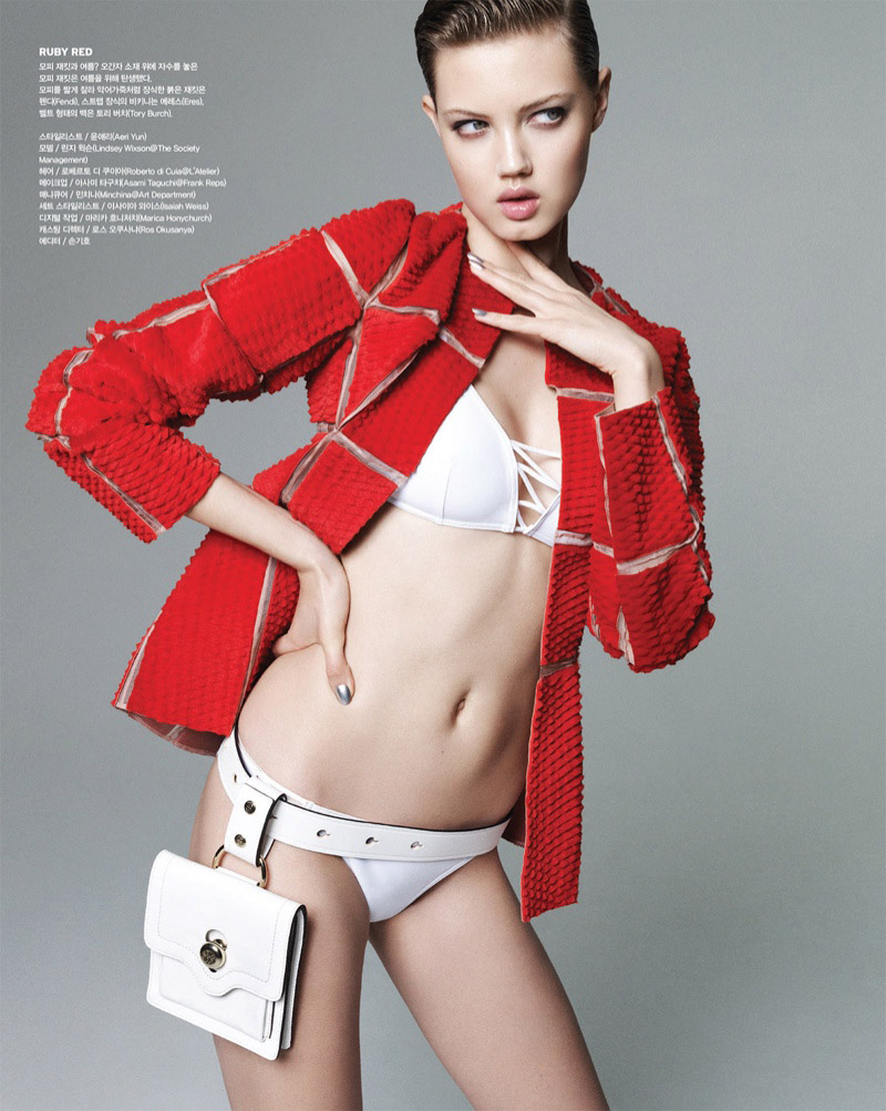 lindsey wixson nagi sakai1 Lindsey Wixson Works it Out for Vogue Korea Shoot by Nagi Sakai