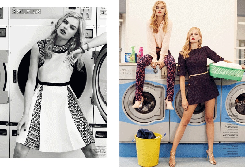 lofficiel washing laundromat fashion shoot3 Milou Sluis & Isabel Scholten Go to the Laundromat for LOfficiel Netherlands