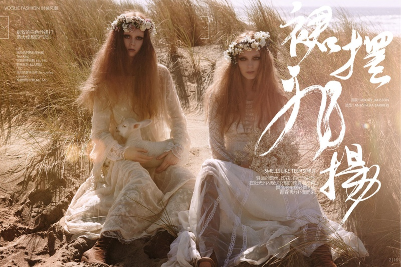 natalie kati mikael jansson1 Kati Nescher & Natalie Westling Are Nature Girls for Vogue China by Mikael Jansson