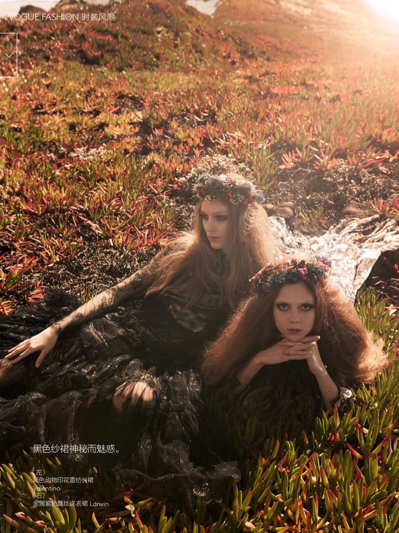 natalie kati mikael jansson2 Kati Nescher & Natalie Westling Are Nature Girls for Vogue China by Mikael Jansson