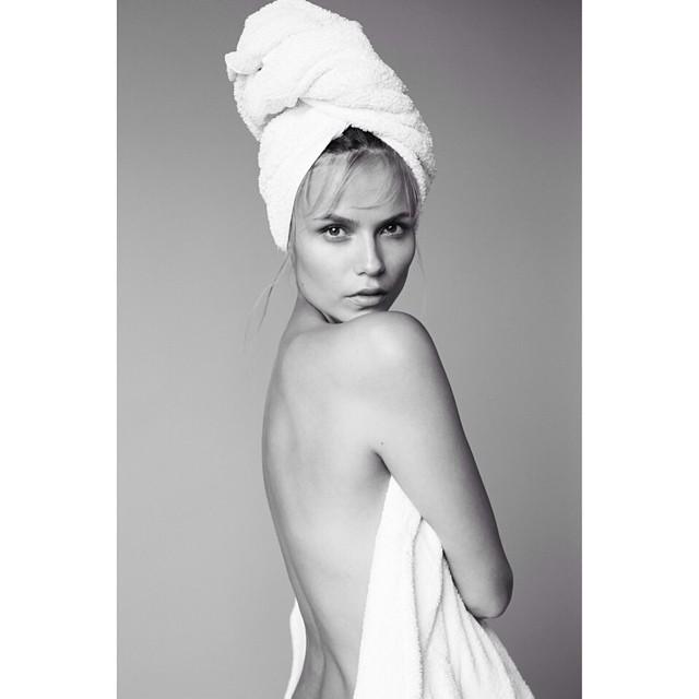 "Natasha Poly is the latest to join Mario Testino's ""Towel Series"""