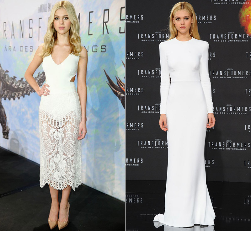 nicola peltz stella mccartney dress white Nicola Peltz Stuns at Transformers Events in 2 Stella McCartney Looks