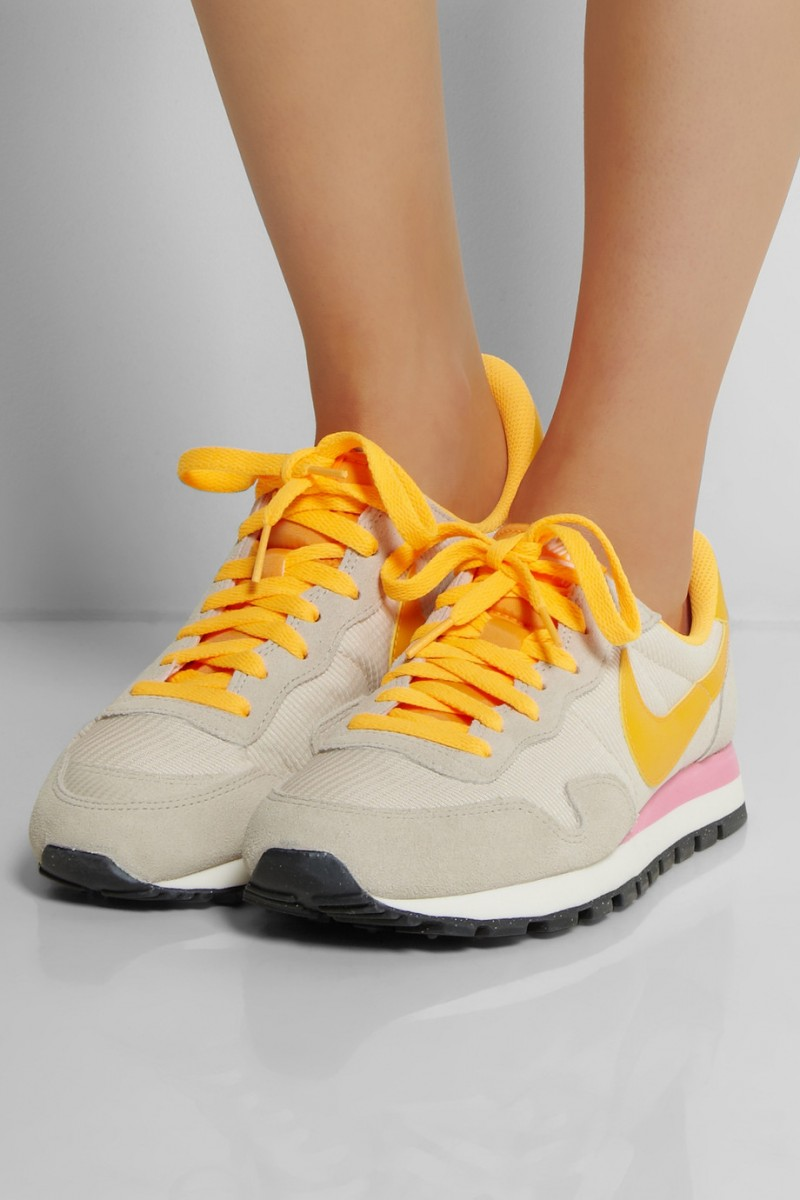 NIKE Air Pegasus 83 leather, suede and mesh sneakers available at Net-a-Porter for $85.00