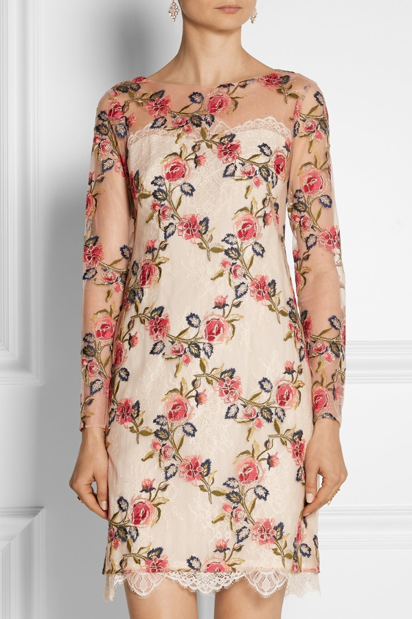 Notte by Marchesa Embroidered mesh and lace dress available at Net-a-Porter for $895.00