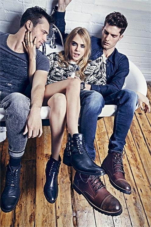 pepe jeans 2014 fall campaign cara delevingne1 Cara Delevingne Gets Playful in Pepe Jeans' Fall Ads