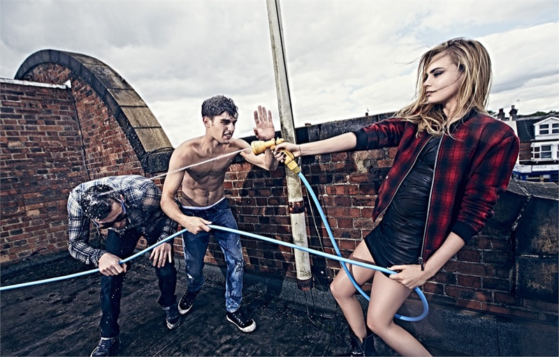 pepe jeans 2014 fall campaign cara delevingne2 Cara Delevingne Gets Playful in Pepe Jeans' Fall Ads