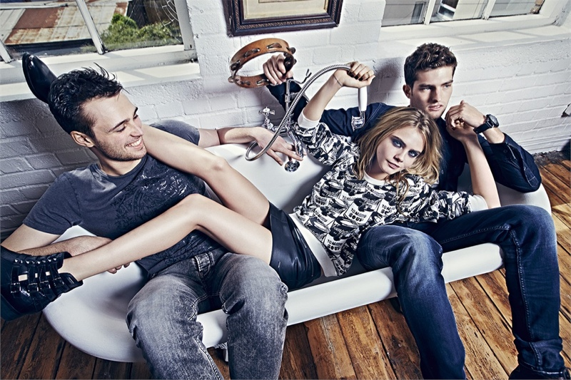 pepe jeans 2014 fall campaign cara delevingne4 Cara Delevingne Gets Playful in Pepe Jeans' Fall Ads